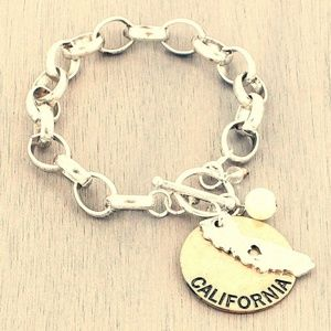 Jewelry - CA charm bracelet california state gold coin